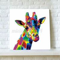 Colourful Giraffe Animal Canvas Painting Print Picture ...