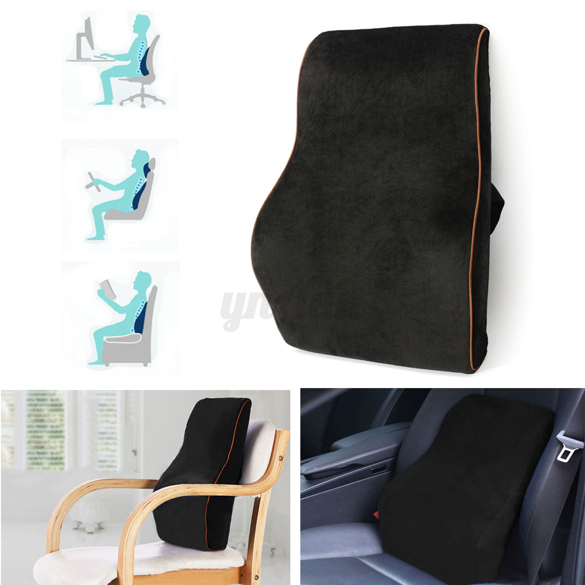 back pillow for office chair 8 dining chairs memory foam car seat waist cushion lumbar