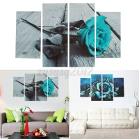 UK ABSTRACT FLORAL Flower Teal Rose Canvas Print Wall Art ...