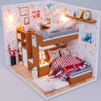DIY Handmade Doll House Miniature LED Wooden Plastic