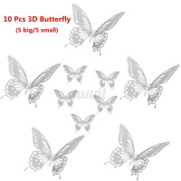 10pcs 3D Stainless Butterfly Wall Stickers Silver Mirror