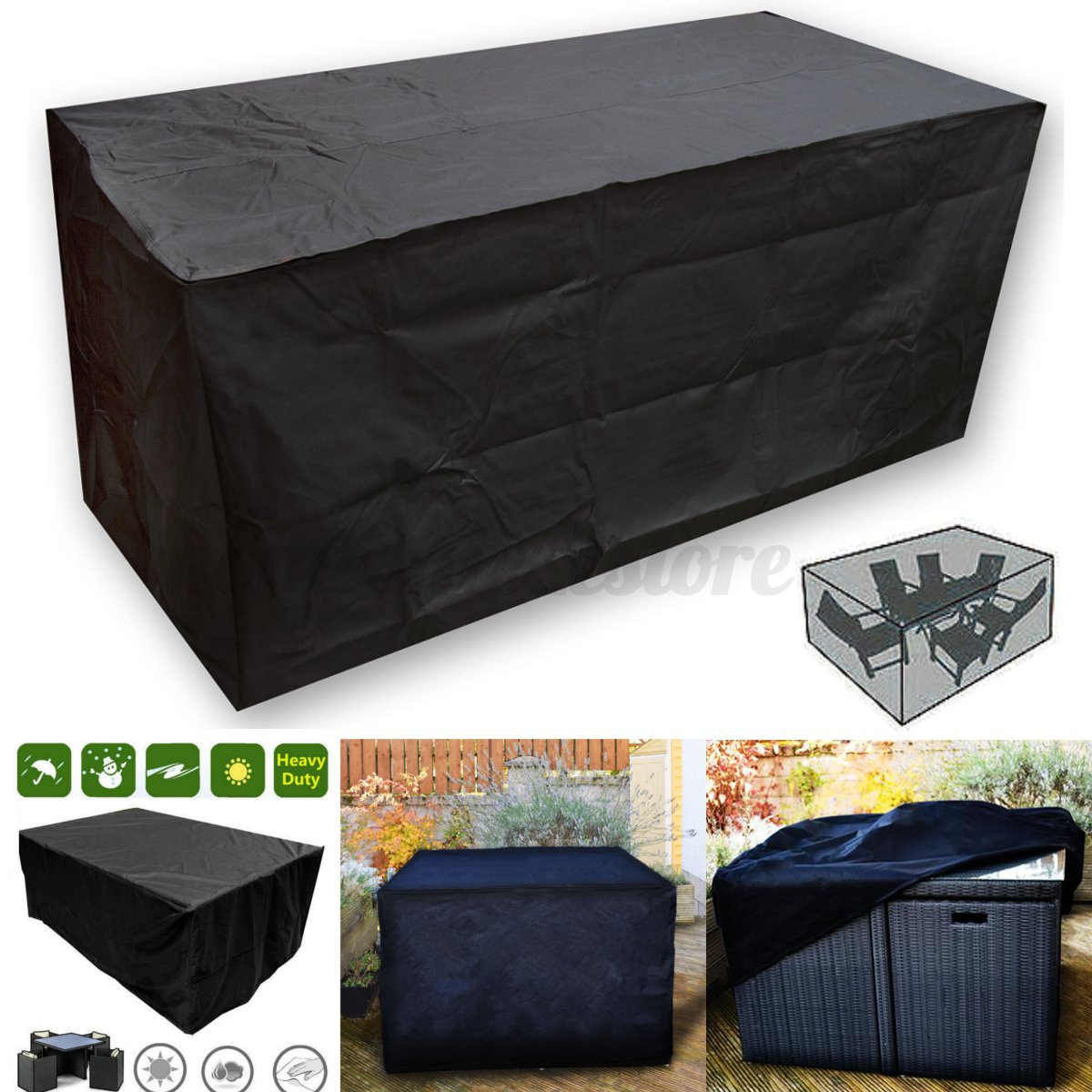 table and chair covers ebay best toddler black waterproof rattan cube outdoor garden patio