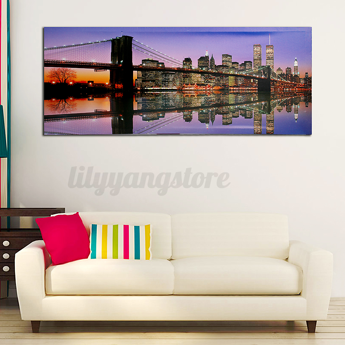 LED Light Up Lighted Christmas Canvas Painting River