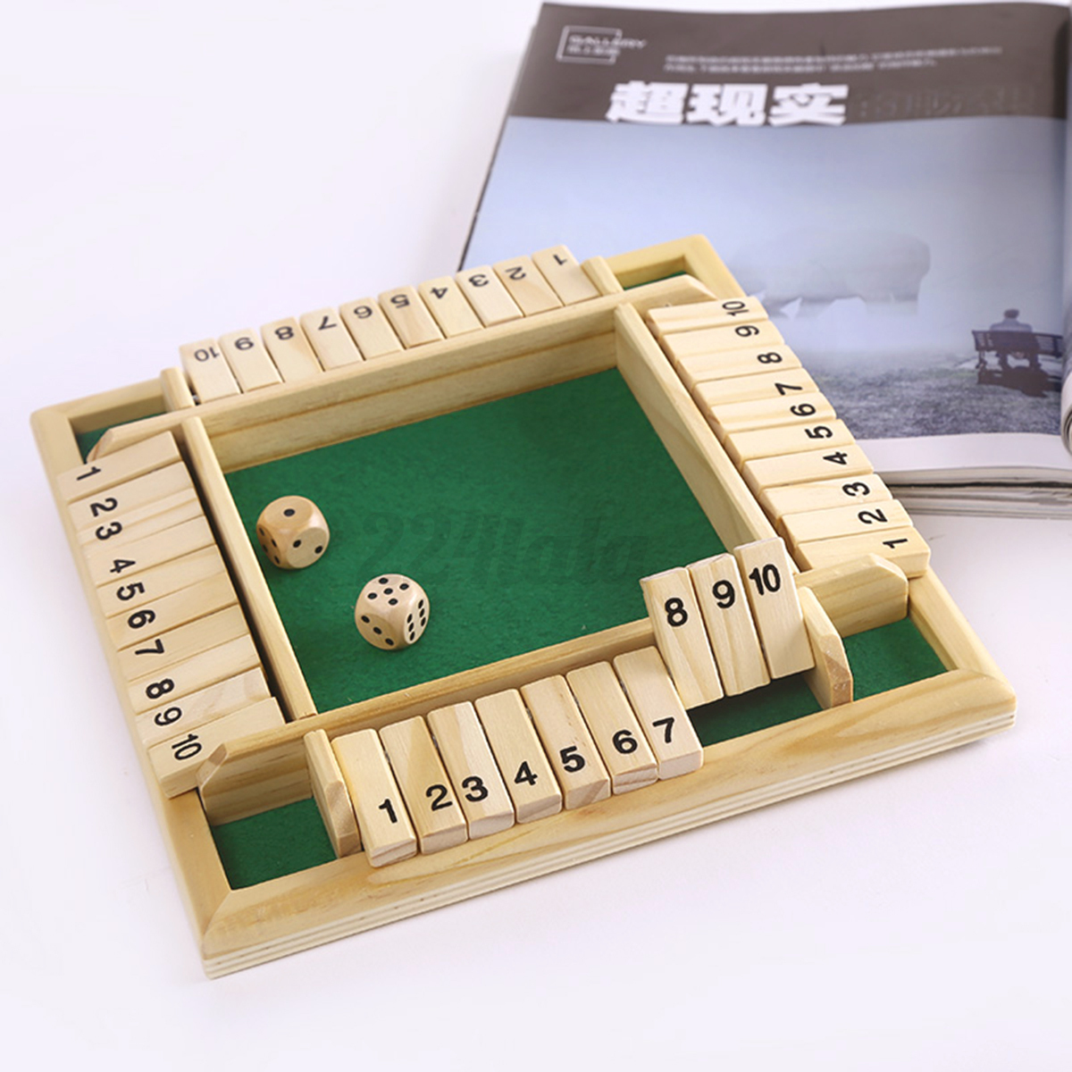 Shut The Box Game Wooden Board Number Drinking Dice Toy