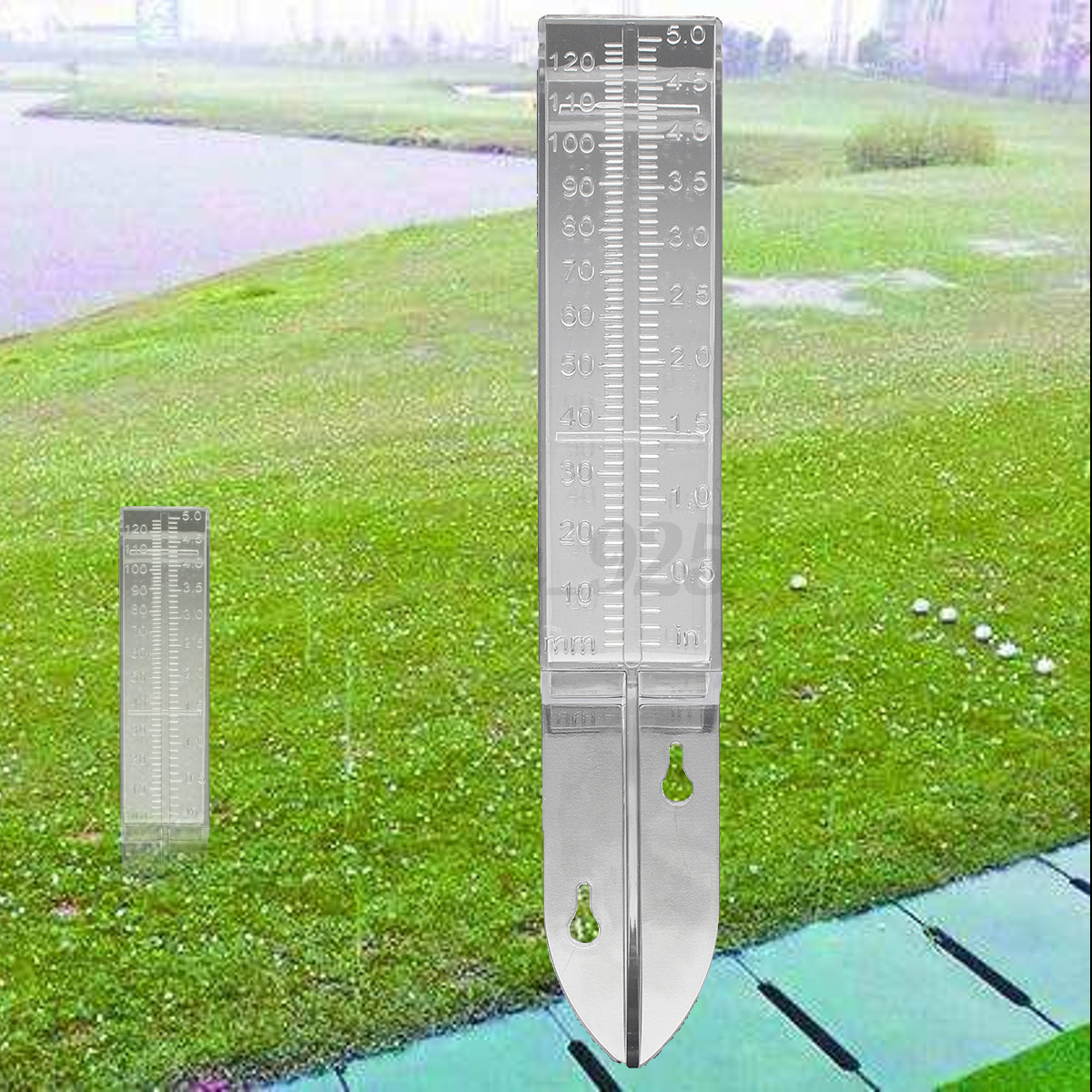 150mm 120ml Acrylic Material Plastic Dual Scale Rain Gauge Garden Water Ground