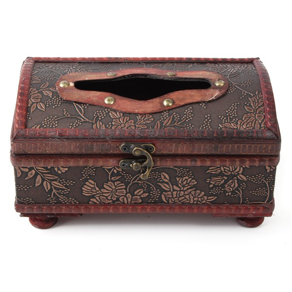 Retro Wooden Rectangular Tissue Box Paper Cover Case