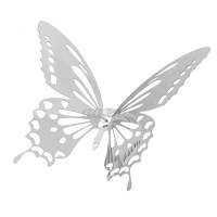 10pcs 3D Stainless Butterfly Wall Stickers Silver Mirror ...