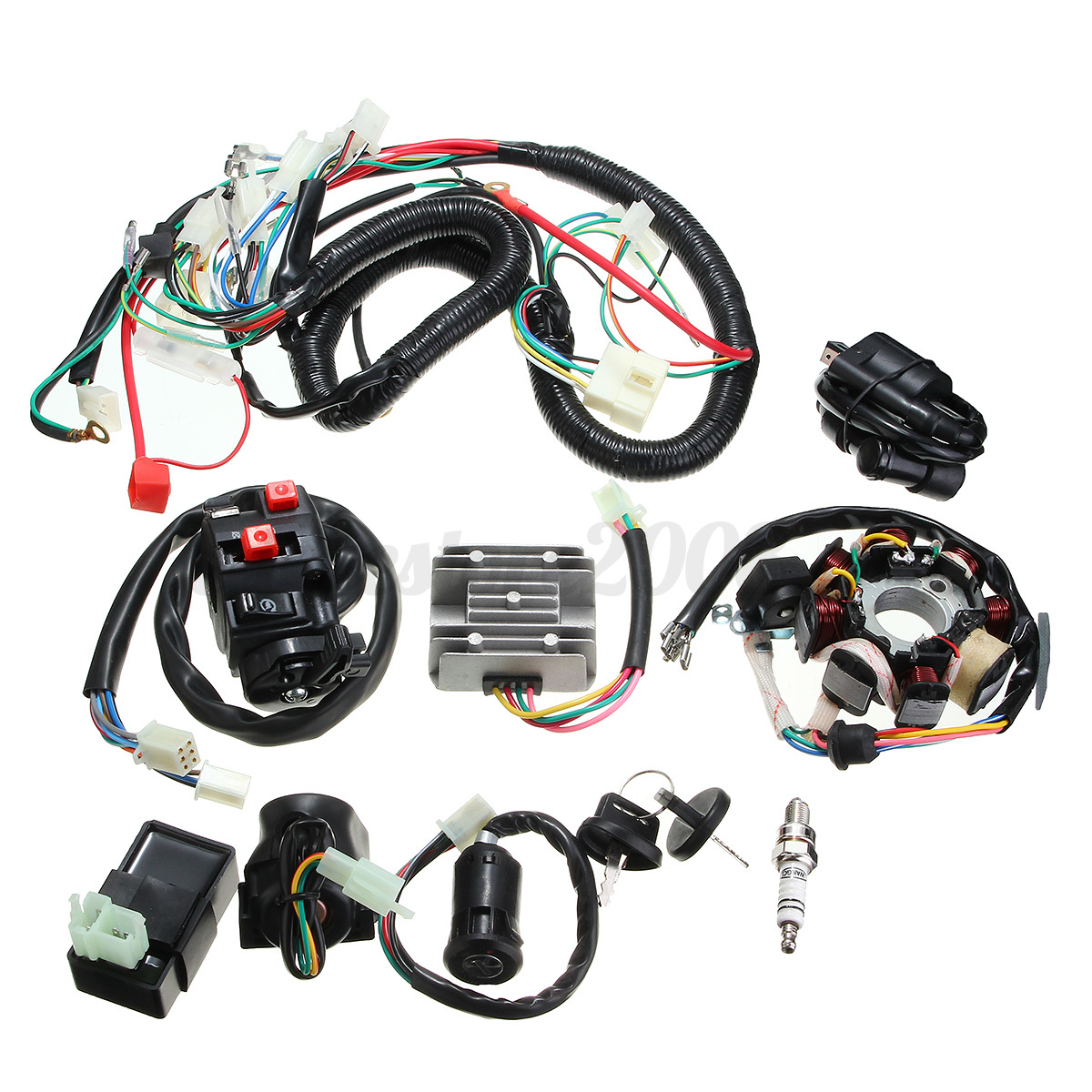 250cc quad bike wiring diagram boss v plow 125 150 200 cdi wire harness stator assembly