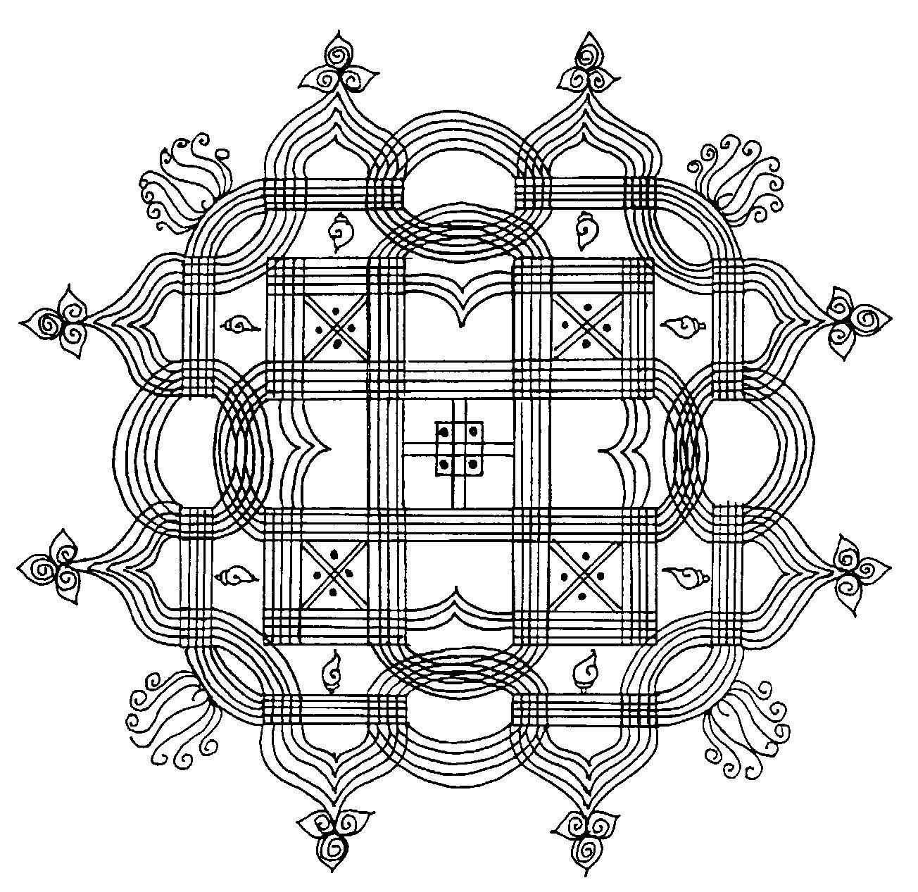 Padi kolam or kolam with lines
