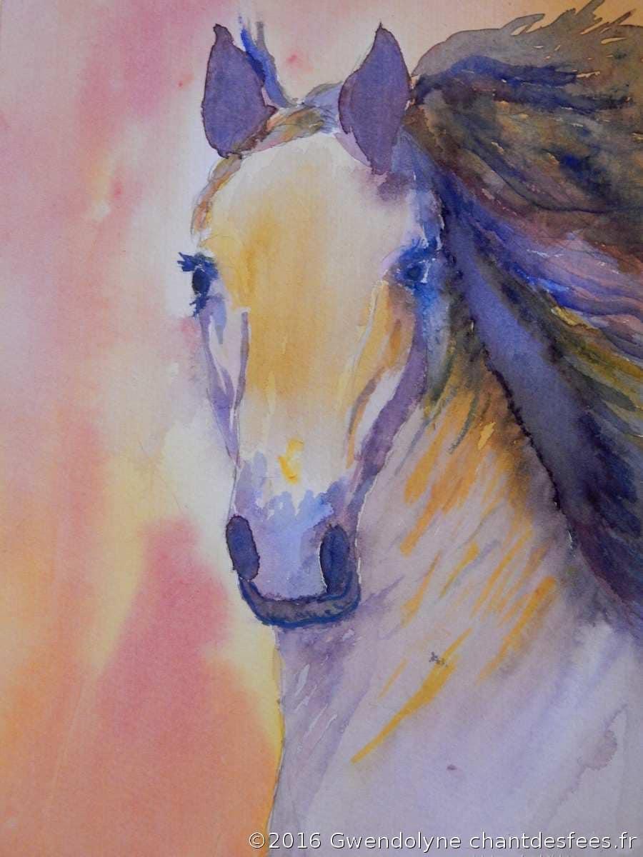 Cheval à l'aquarelle Gwendolyne