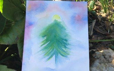 Jour 12 : Tutoriel de peinture pour réaliser un sapin dans un paysage d'hiver