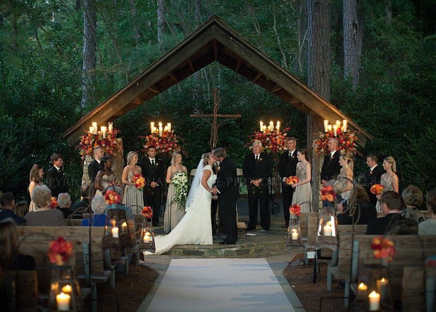 Wedding Holli  Griff  Church in the Pines  SpringHouse Restaurant  Lake Martin Alabama