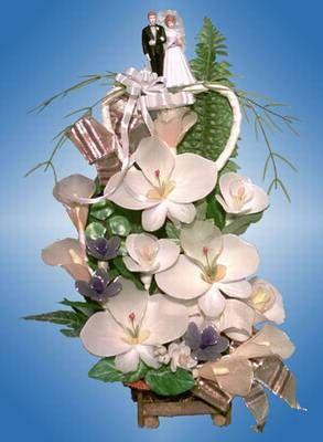 Hochzeitsgesteck in weiss und lila  Hochzeitsgestecke im Chaoli Shop
