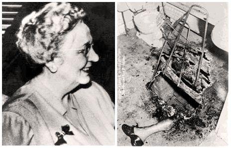 La combustion spontanée. Mary Reeser avant et après.