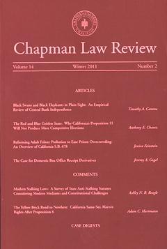 Chapman Law Review  Fowler School of Law  Chapman University