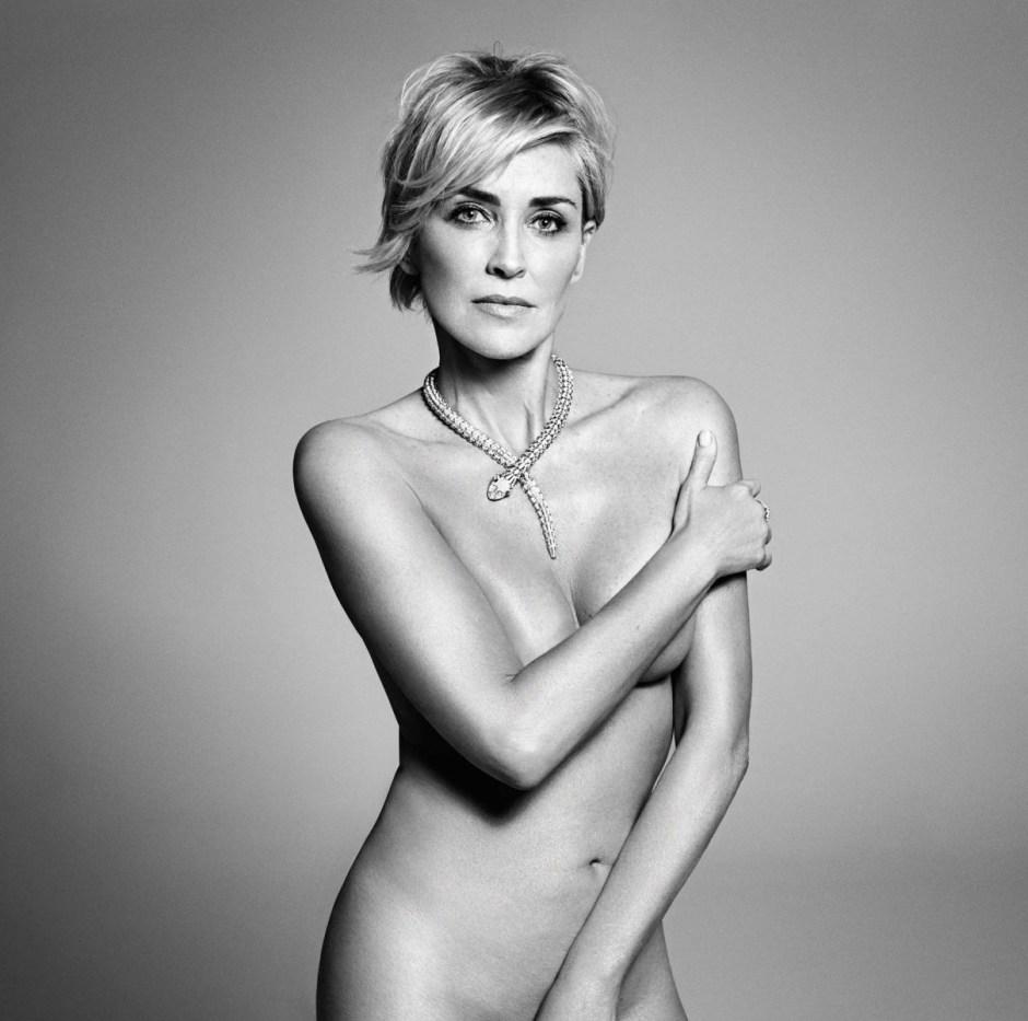 Sharon Stone posing all naked for Mark Abrahams for Harpers Bazaar US september Issue