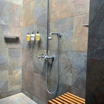 large walk-in shower with glass roof