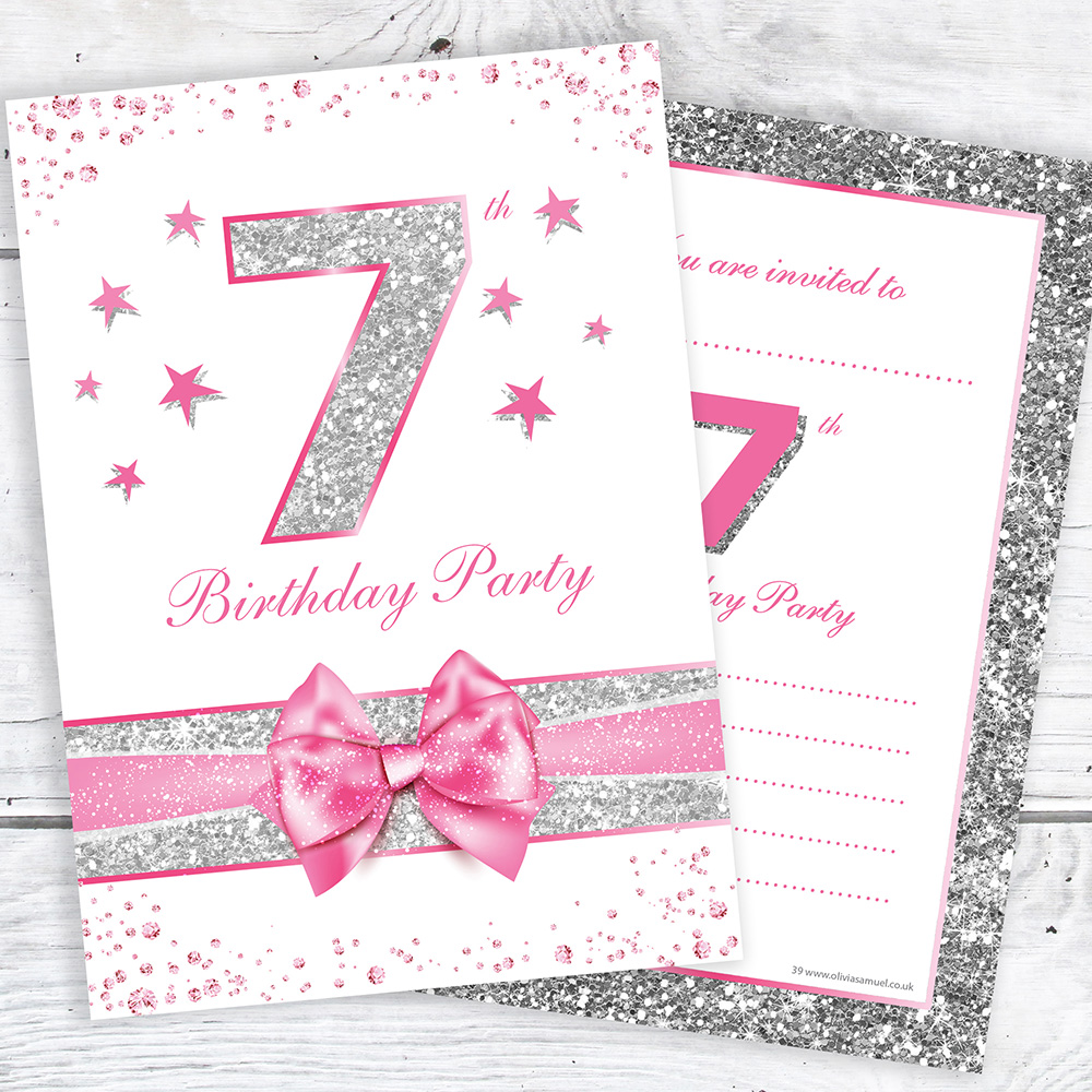 details about 7th birthday invites pink with photo effect glitter a6 size pack 10