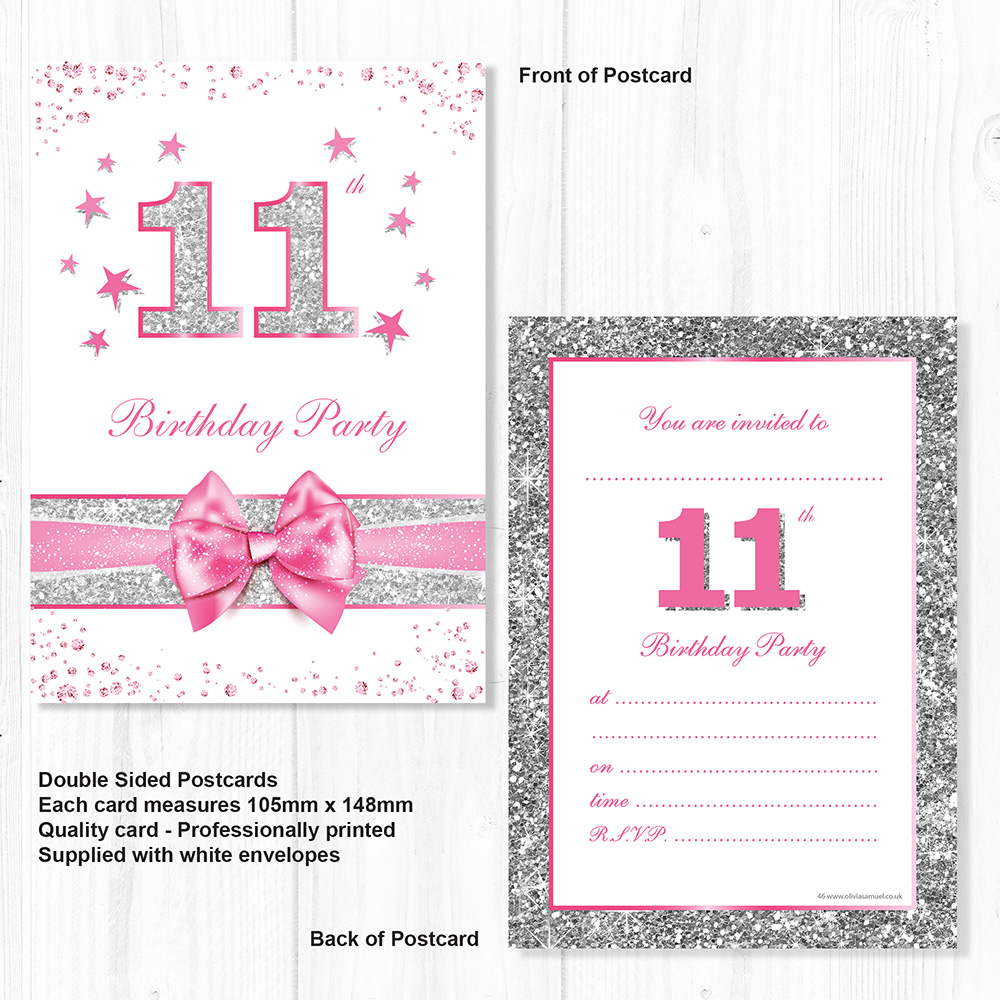 pack 10 11th birthday invites pink with