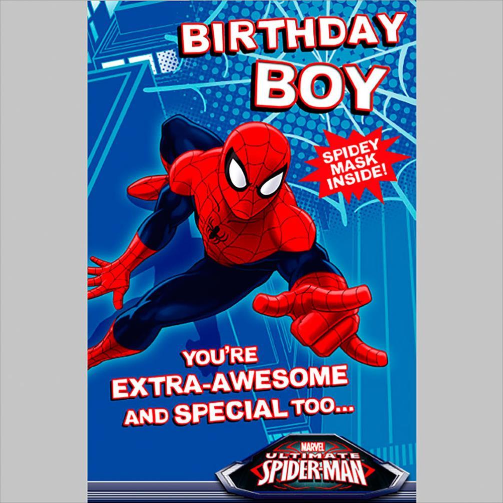 Birthday Boy Spiderman Birthday Card With Mask 418989 0 1