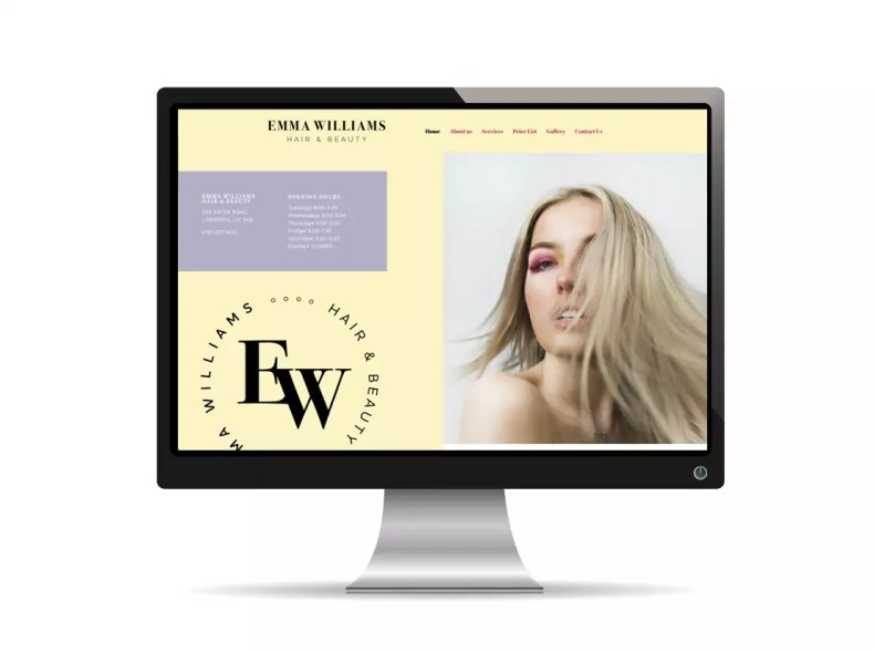 Emma Williams Hair & Beauty Website by Character Creates in Liverpool