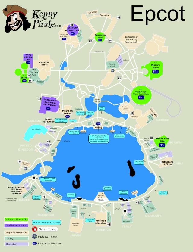 Epcot Character Location Map KennythePirate