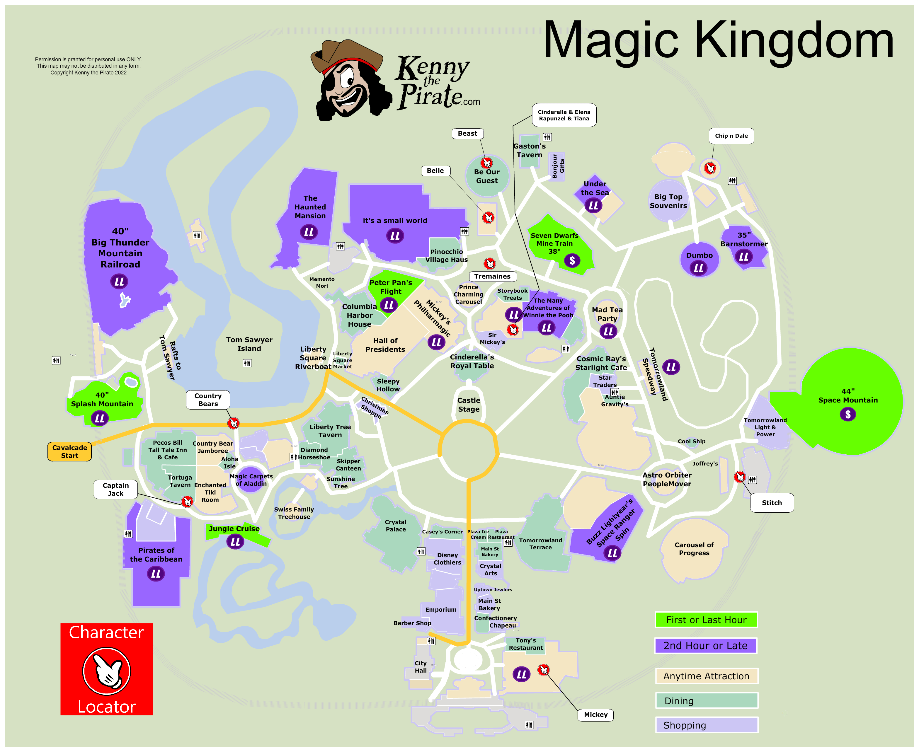 KennythePirate\'s Magic Kingdom Map including Fastpass Plus ...