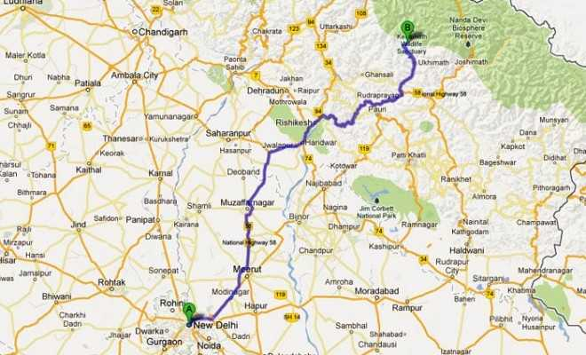 Delhi to Kedarnath Route Map