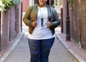Plus Size Blogger wearing Plus Size Bomber Jacket from Debshops