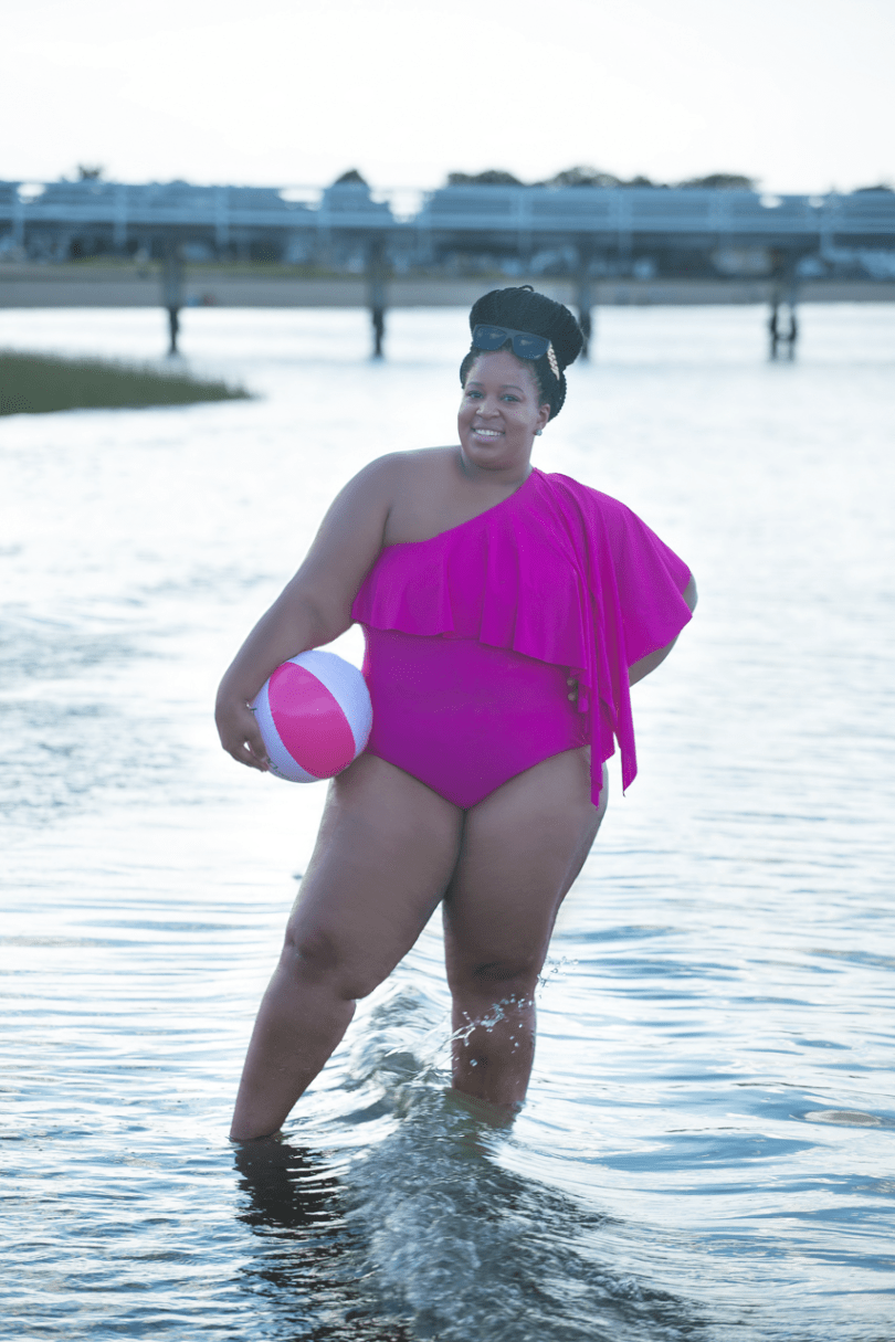 G'wan By Charon Ladi Kafi Bathing Suit on Plus Size Blogger