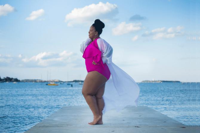 G'wan By Charon Ladi Kafi Bathing Suit on Plus Size Blogger
