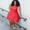 Chardline Plus Size Blogger Wearing Plus Size Red Holiday Dress
