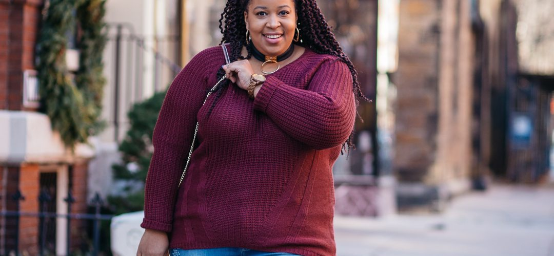 Plus Size Blogger wearing cozy plus size sweater and Jord Watch