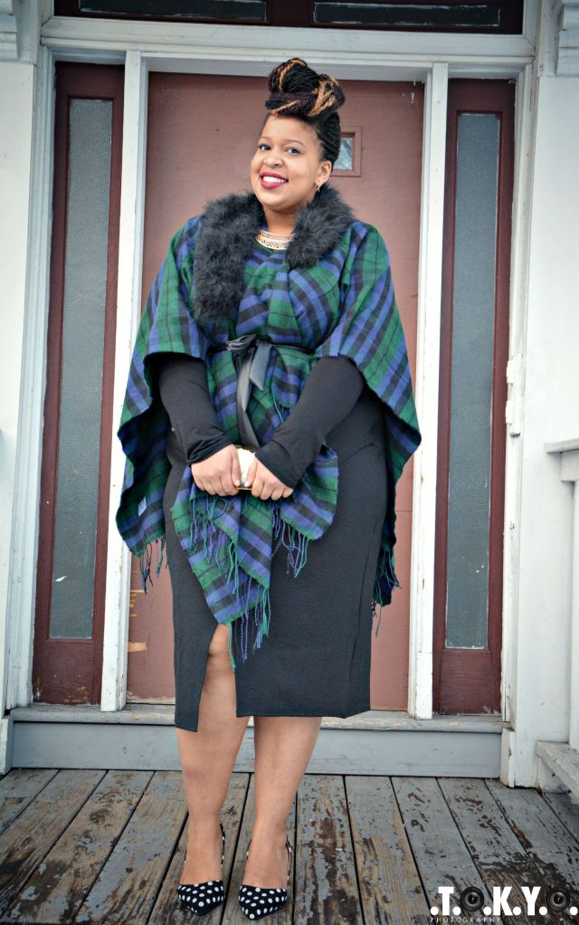 Cape: C/O YoursClothing Skirt: C/O YoursClothing Shirt: C/O PinkClubwear Shoes: Lane Bryant