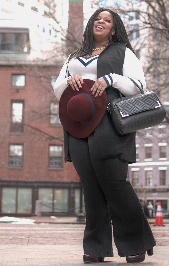 Vest, Sweater, and Pants: Forever 21 Shoes: Rainbows Hat: Aerie Purse: H&M