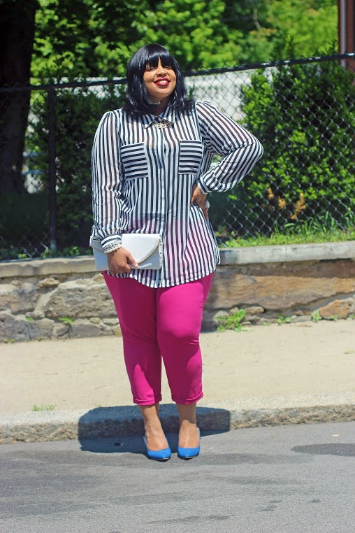 Shirt: City Chic Pants: Old Navy Heels: Just Fab Accessories: Ashley Stewart