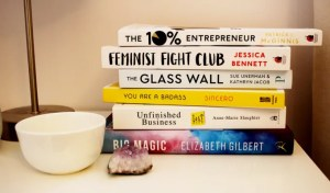 Bookstack on Charelle Griffith's bedside table