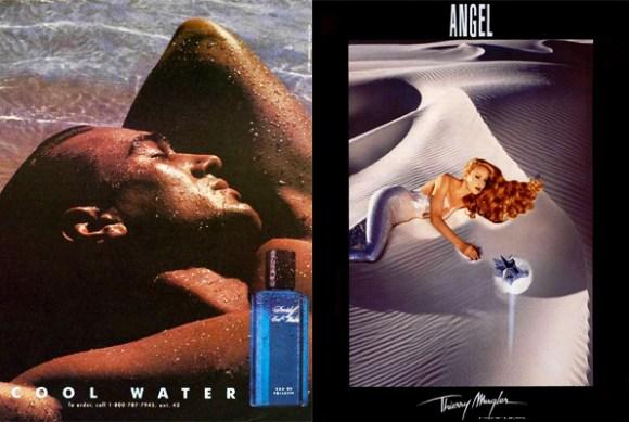 (left) Davidoff Cool Water ad featuring model Joe Gogol (right) 1993 Mugler Angel ad featuring  Jerry Hall