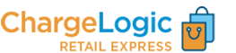 ChargeLogic Retail Express blue and orange logo with two-bag icon