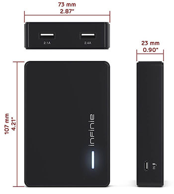 INFINIE 10400mAh Battery Charger Power Bank for iPhone 7 iPhone 7 Plus