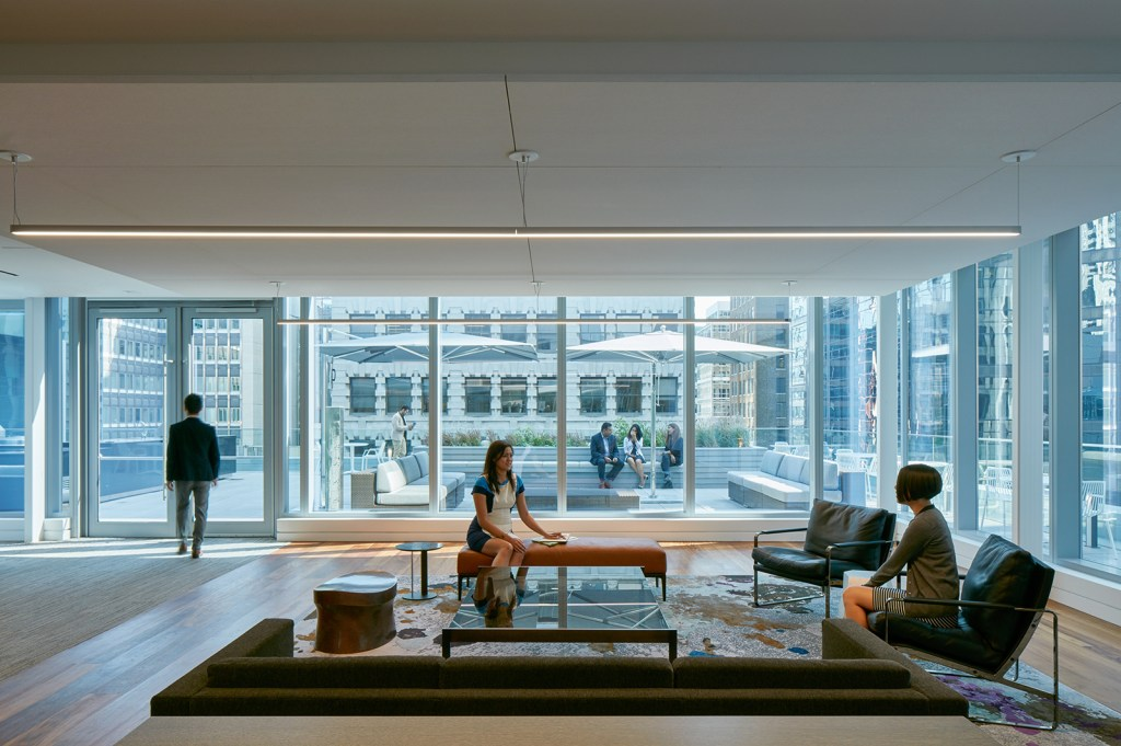 Deloitte's Toronto Office features 18 different types of work zones include casual collaborative and client facing spaces like this one (Photography: James Brittain)