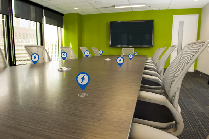 Boardroom Table with Wireless Charging by ChargeSpot