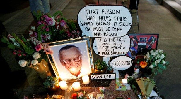 Flowers and mementos are pictured on the star of late Marvel Comics co-creator Stan Lee on the Hollywood Walk of Fame.