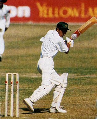 Hasan Raza batting on debut when it was claimed he was 14 ... that was later disputed by his own board, Pakistan v Zimbabwe, Sheikhupura, October 20, 1996