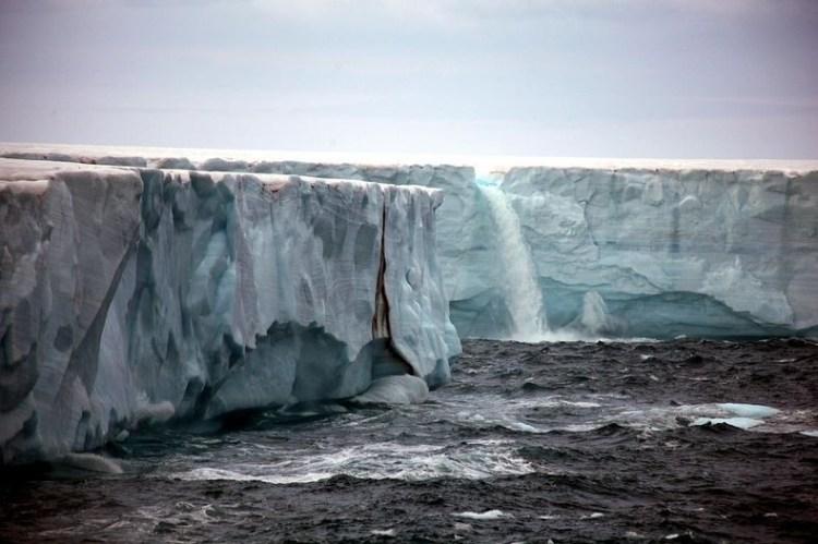 Stunning Glacier Waterfall in Svalbard Norway 4