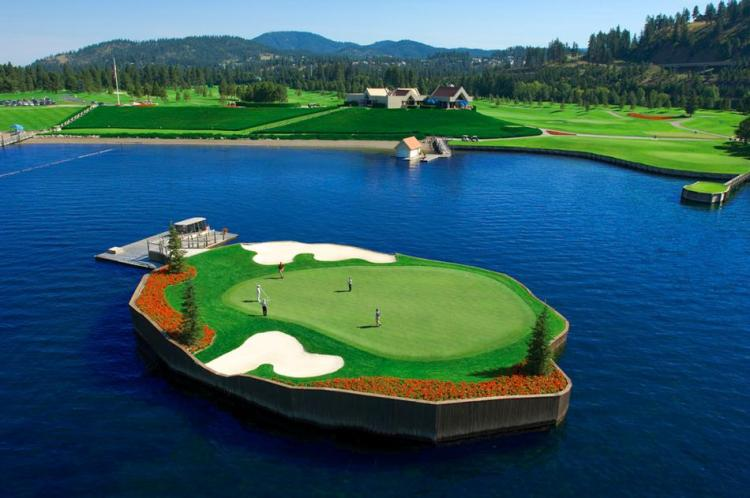 Floating Golf Course at Luxury Coeur d'Alene Resort 8