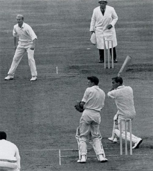 John Edrich drives Bryan Yuile on his way to 310 Not out, England v New Zealand, 3rd Test, Headingley, July 9, 1965