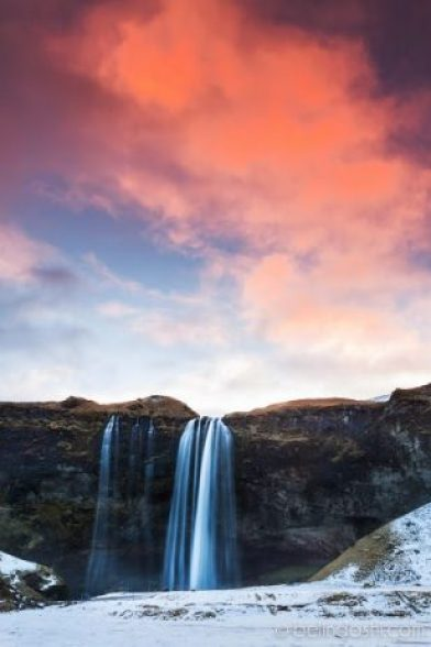 Sunrise in Seljalandsfoss Iceland