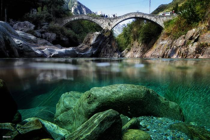 Crystal clear water of the Verzasca River, Switzerland