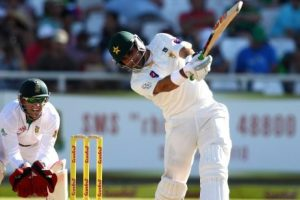 Misbah-ul-Haq smashed the fastest fifty in Test cricket - off 21 balls, and equals Fastest Test Hundred off 56 balls (Sir Vivan Richards) Pakistan v Australia, 2nd Test, Abu Dhabi, 4th day, November 2, 2014 @Getty Image